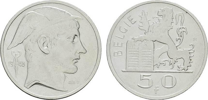 50 Francs 1948. BELGIEN Leopold III., 1934-1950. Sehr schön -Vorzüglich.