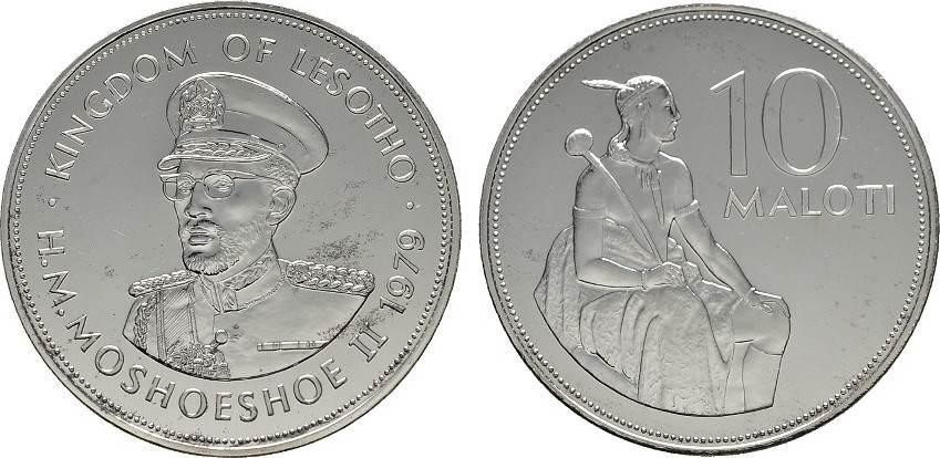 10 Maloti 1979. LESOTHO Moshoeshoe II., 1966-1990. Polierte Platte.