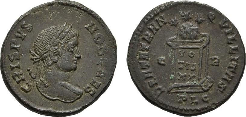 Æ-Follis, Lugdunum. RÖMISCHE KAISERZEIT Crispus 317-326. Vorzüglich