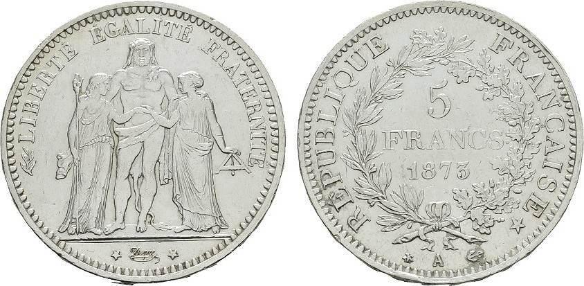 5 Francs 1873, A. FRANKREICH 3. Republik, 1870-1940. Vorzüglich +.