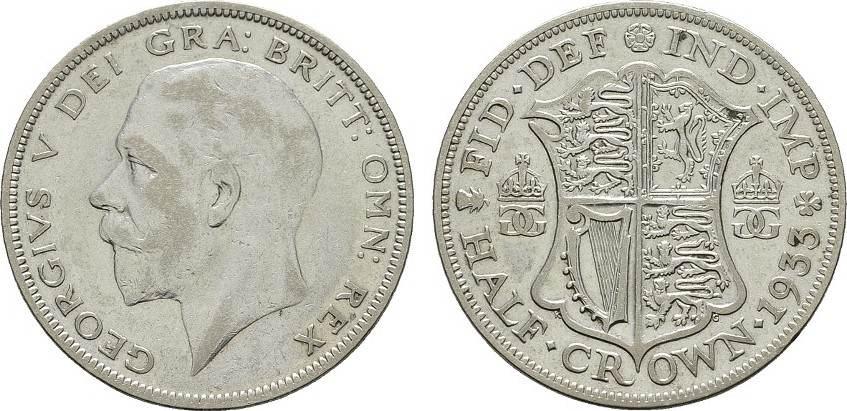 1/2 Crown 1933. GROSSBRITANNIEN George V, 1910-1936. Sehr schön-vorzüglich.