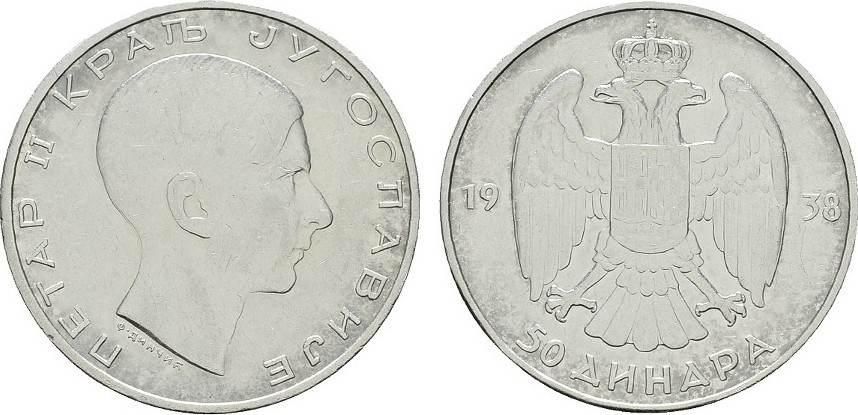 50 Dinara 1938. JUGOSLAWIEN Petar II., 1934-1945. Vorzüglich.