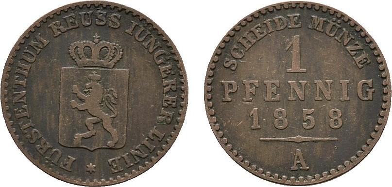 Ku.-Pfennig 1858. REUSS Heinrich LXVII., 1854-1867. Sehr schön.