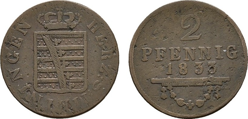 Ku.-2 Pfennig 1833. SACHSEN Bernhard Erich Freund, 1803-1866. Sehr schön.