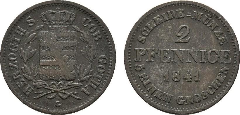 Ku.-2 Pfennig 1841 C SACHSEN Ernst I., 1826-1844. Sehr schön