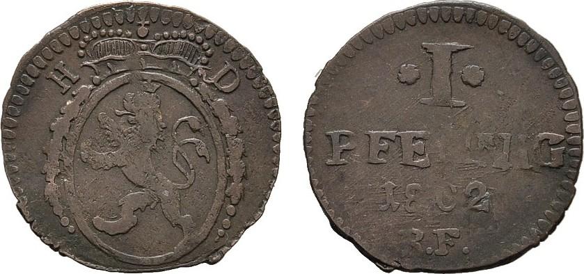 Ku.-Pfennig 1802 HESSEN Ludewig X. (I.), 1790-1806-1830. Sehr schön