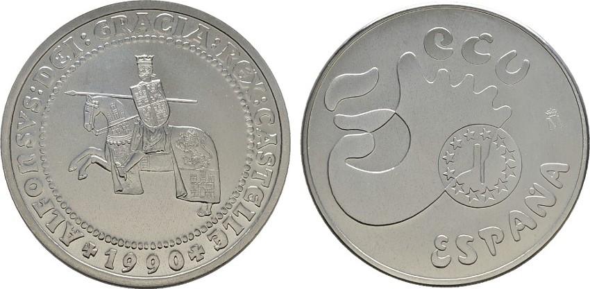 5 Ecu 1990 SPANIEN Juan Carlos I., 1975-2014. Polierte Platte