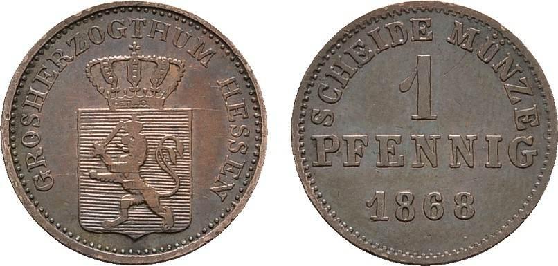 Pfennig 1868. HESSEN Ludwig III., 1848-1877. Sehr schön-vorzüglich.