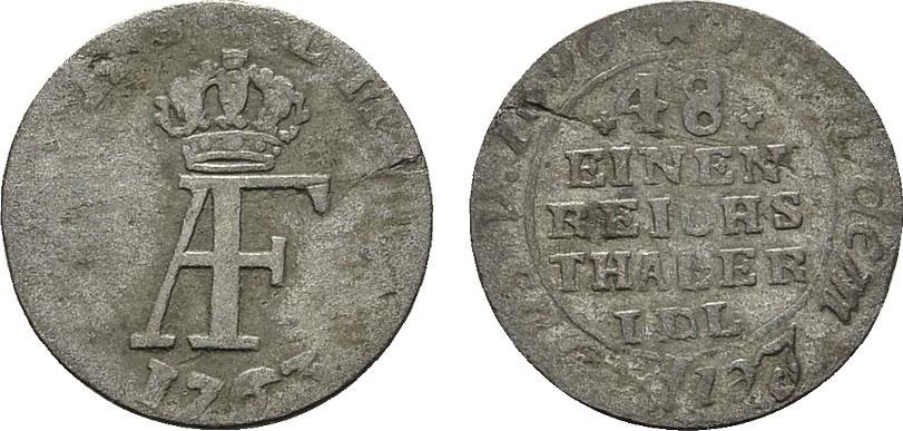 1/48 Taler 1763, Stralsund. STRALSUND Unter Schweden. Adolf Friedrich, 1751-1771. Schön-sehr schön.