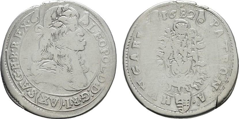 15 Kreuzer 1682, Kremnitz. RÖMISCH-DEUTSCHES REICH Leopold I., 1657-1705. Fast sehr schön.