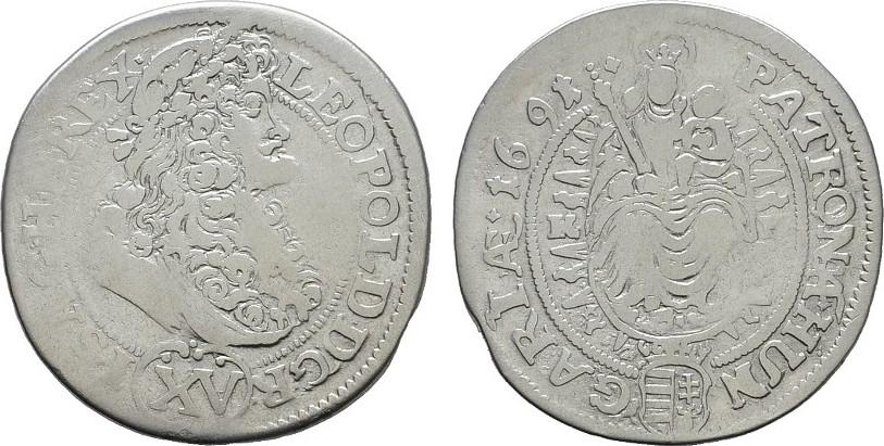 15 Kreuzer 1691, Kremnitz. RÖMISCH-DEUTSCHES REICH Leopold I., 1657-1705. Sehr schön.
