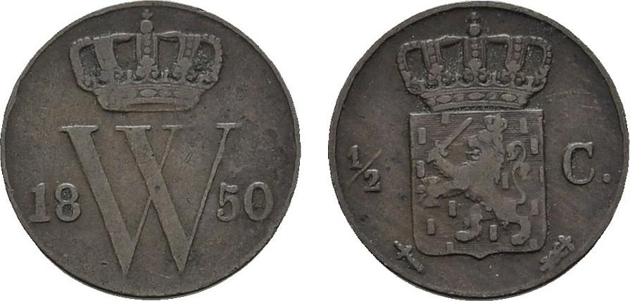 Ku.-1/2 Cent 1850 NIEDERLANDE Wilhelm III., 1849-1890. Sehr schön