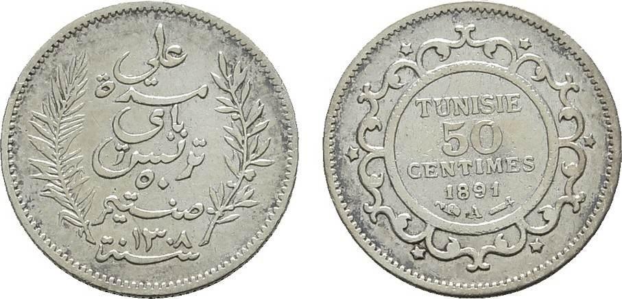 50 Centimes 1891 TUNESIEN Unter Frankreich. Sehr schön