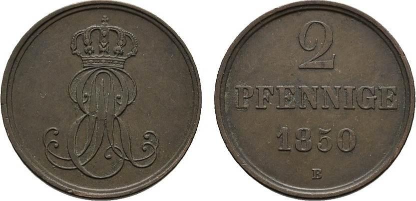 Ku.-2 Pfennig 1850 B HANNOVER Ernst August, 1837-1851. Vorzüglich