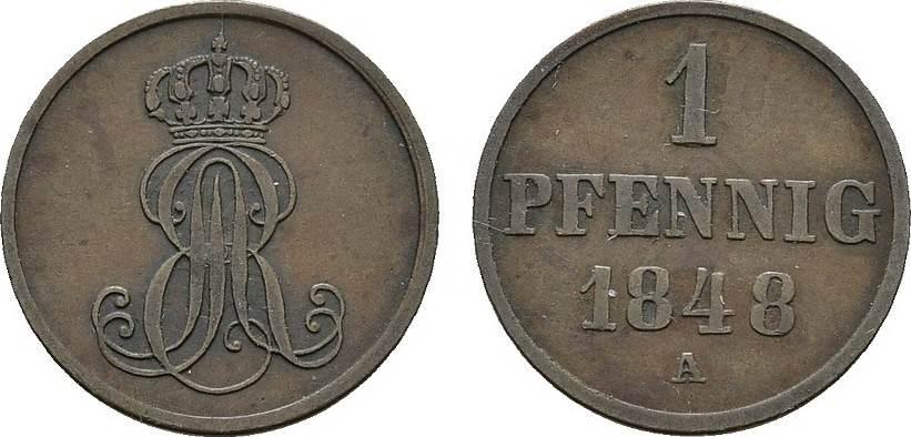 Ku.-Pfennig 1848 A HANNOVER Ernst August, 1837-1851. Sehr schön