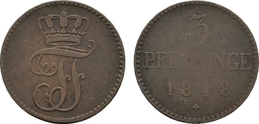 Ku.-3 Pfennig 1848 MECKLENBURG Friedrich Franz II., 1842-1883. Fast sehr schön