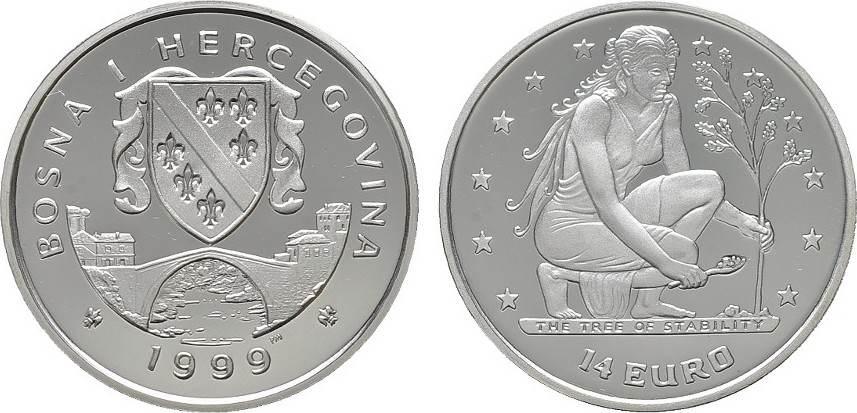 14 Euro 1999 BOSNIEN-HERZEGOWINA Republik. Polierte Platte