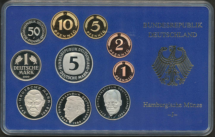 Kursmünzensatz 2000 J BUNDESREPUBLIK DEUTSCHLAND Polierte Platte