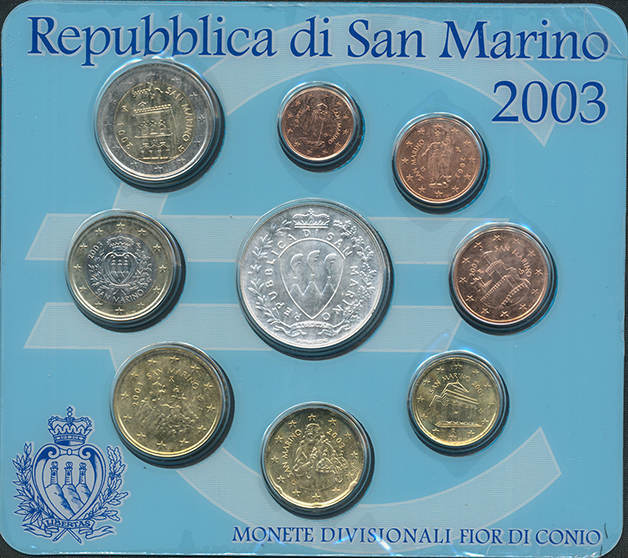 Kursmünzensatz 2003 OVP SAN MARINO Stempelglanz