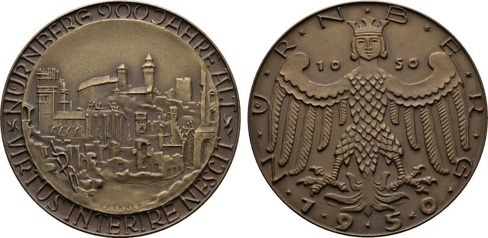 Bronzemedaille (Kalkner/Lauer) 1950. STÄDTEMEDAILLEN Mattiert