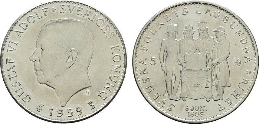 5 Kronen 1959 SCHWEDEN Gustav VI. Adolf, 1950-1973. Stempelglanz