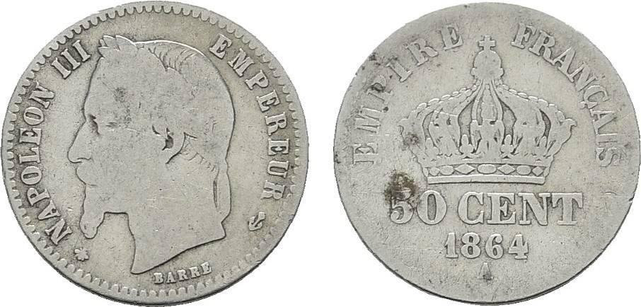 50 Centimes 1864 A. FRANKREICH Napoléon III, 1852-1870. Sehr schön -