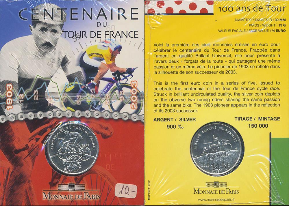 1/4 Euro 2003. FRANKREICH Stempelglanz.