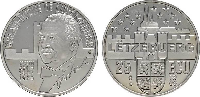 25 Ecu 1993. LUXEMBURG Henri, seit 2000. Polierte Platte.