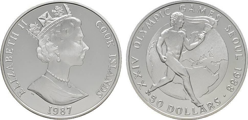 50 Dollars 1987. COOK ISLANDS Elizabeth II. seit 1952. Polierte Platte