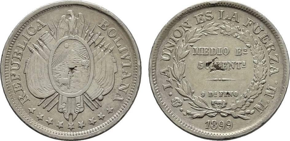 50 Centavos 1899. BOLIVIEN Republik. Angebohrt. Sehr schön