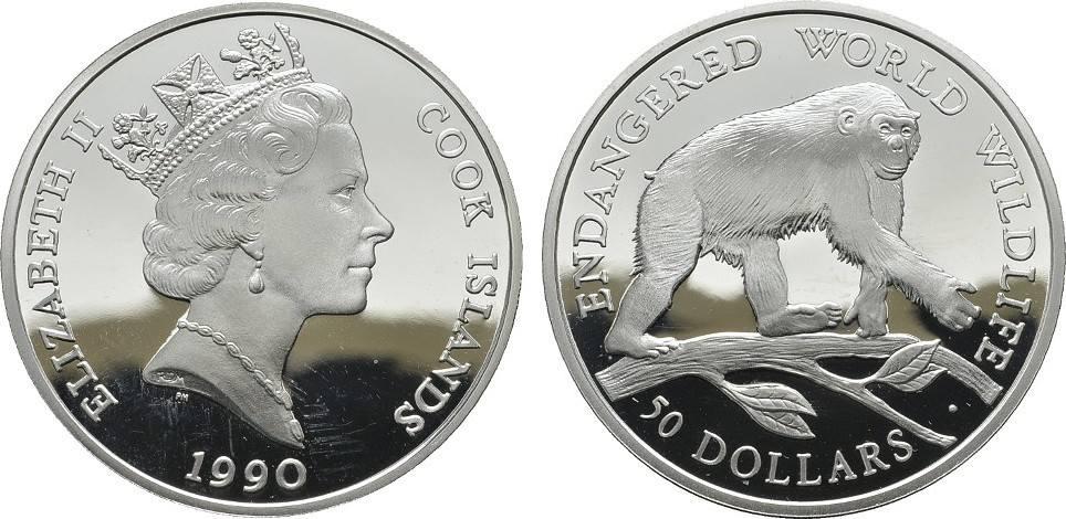 50 Dollars 1990. COOK ISLANDS Elizabeth II. seit 1952. Polierte Platte.