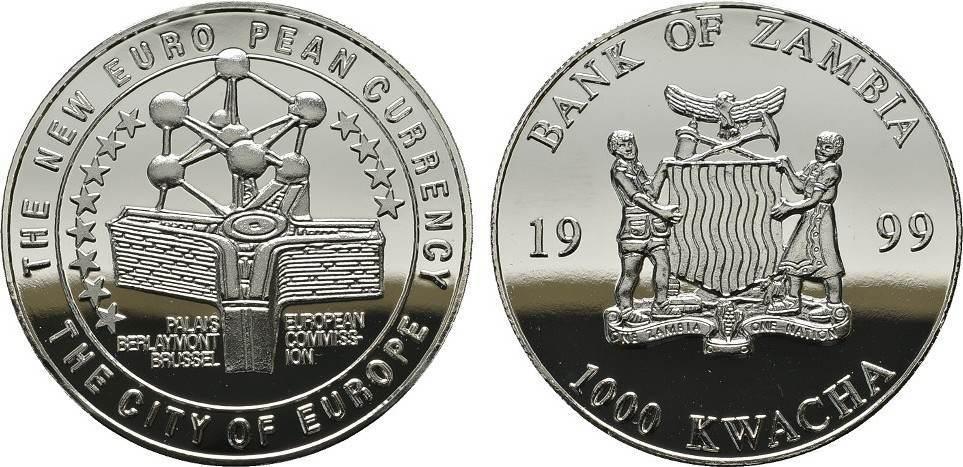 1.000 Kwacha 1999. ZAMBIA Zweite Republik seit 1972. Polierte Platte