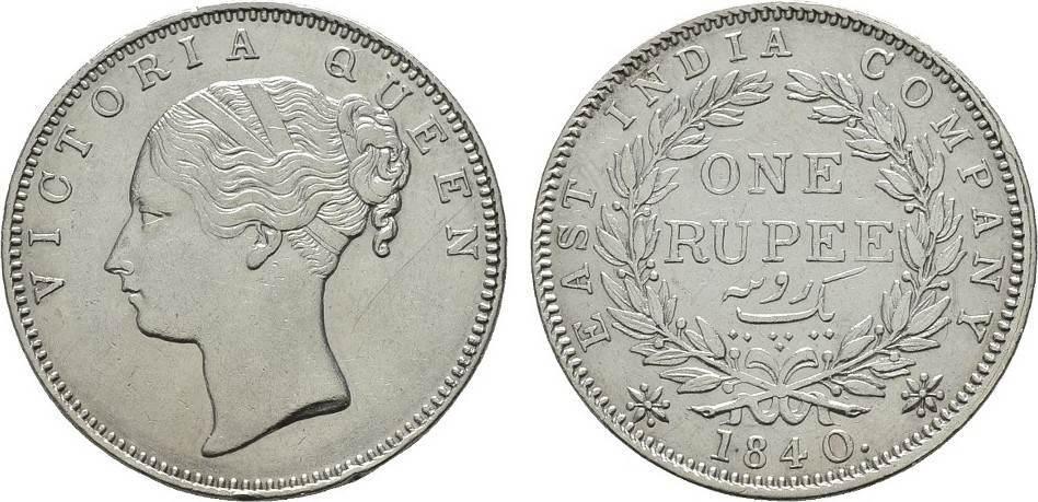 Rupee 1840. GROSSBRITANNIEN British East India Company. Kl.Rdf., kl.Kratzer, sonst Vorzüglich