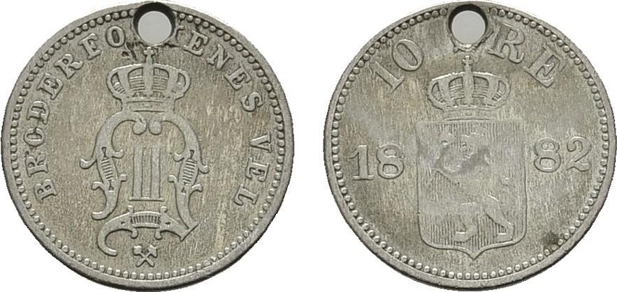10 Öre 1882. NORWEGEN Oskar II., 1872-1905. Gelocht.Sehr schön