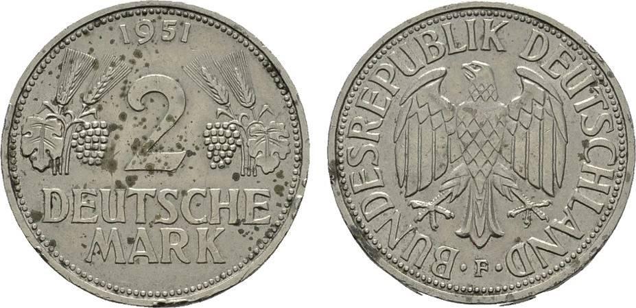 2 DM 1951, F. BUNDESREPUBLIK DEUTSCHLAND Rdf. Fleckig. Sehr schön