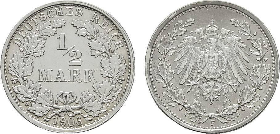 1/2 Mark 1906, F. Deutsches Reich Vorzüglich
