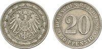 20 Pfennig 1890, F. Deutsches Reich  Fast vorzüglich  90,00 EUR  +  7,00 EUR shipping