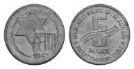 5 Mark 1943. GETTO LITZMANNSTADT  Vorzüglich +  220,00 EUR  + 7,00 EUR frais d'envoi