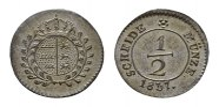 1/2 Kreuzer 1837. WÜRTTEMBERG Wilhelm I., 1816-1864. Vorzüglich-stempel... 181,84 SGD 120,00 EUR  zzgl. 6,82 SGD Versand