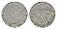 2 Reichsmark 1936, J. DRITTES REICH  Fast vorzüglich.  166,68 SGD 110,00 EUR  zzgl. 6,82 SGD Versand