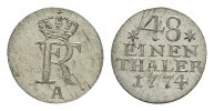 1/48 Taler 1774, A. BRANDENBURG-PREUSSEN Friedrich II., der Große, 1740... 227,30 SGD 150,00 EUR  zzgl. 6,82 SGD Versand