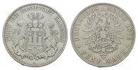 5 Mark 1876, J. Hamburg Freie und Hansestadt. Fast vorzüglich.  230.47 CAN$  zzgl. 6.29 CAN$ Versand