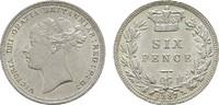 6 Pence 1887. GROSSBRITANNIEN Victoria, 1837-1901. Stempelglanz -.  125,00 EUR  +  7,00 EUR shipping