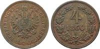 Ku.-4 Kreuzer 1860, A. KAISERREICH ÖSTERREICH Franz Josef I., 1848-1916... 167.62 CAN$  zzgl. 6.29 CAN$ Versand