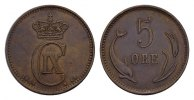 Ku.-5 Öre 1884, CS. DÄNEMARK Christian IX., 1863-1906. Kl. Randstauchun... 118.73 CAN$  zzgl. 6.29 CAN$ Versand