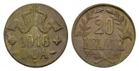 20 Heller 1916, T. DEUTSCHE KOLONIEN  Prägefrisch  378,83 SGD 250,00 EUR  zzgl. 6,82 SGD Versand
