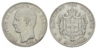 5 Drachmen 1875, A. GRIECHENLAND Georg I., 1863-1913. Sehr schön.  151,53 SGD 100,00 EUR  zzgl. 6,82 SGD Versand