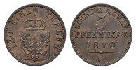 BRANDENBURG-PREUSSEN 3 Pfennig Wilhelm I., 1861-1888.