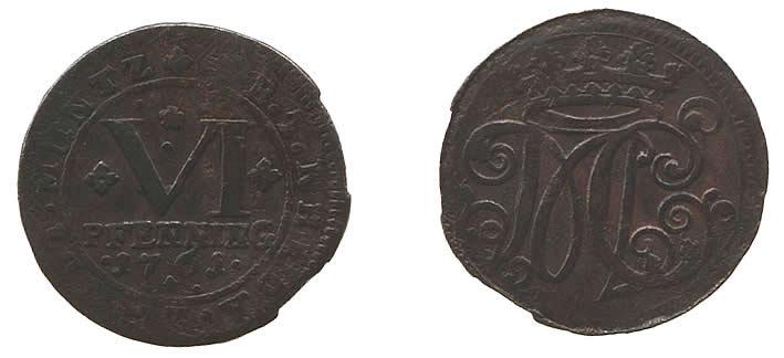 6 Pfennig 1761 Bentheim-Tecklenburg-Rheda VI Pfennig 1761 ss