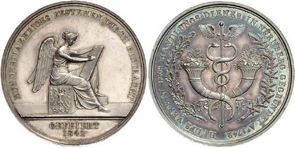 Medaille 1842 Nürnberg, Stadt Medaille 1842 vz-st